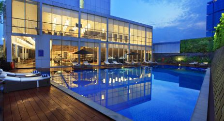 An outdoor swimming pool for relaxing or simply taking picture when staying in the center of business district in South Jakarta