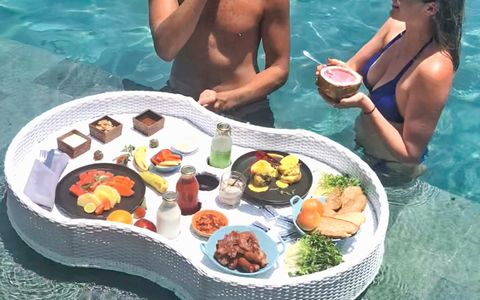 Unique dining experience at Aston Canggu Beach Resort with floating menus