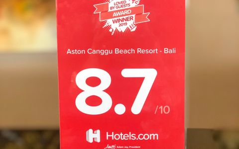 Aston Canggu Beach Resort Receive 2019 Loved By Guests Award by Hotels.com