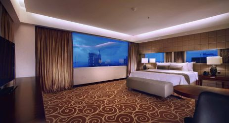 A luxury and spacious room design with elegant furnished, experience the perfect stay at the suite room in makassar