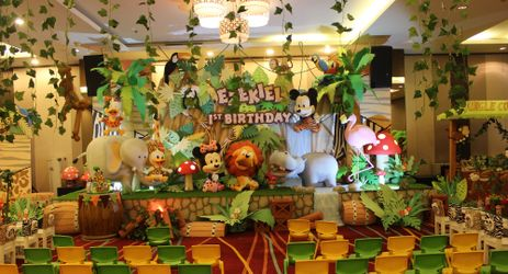 Wedding party with beautiful flower decoration is available in the commercial center of North Jakarta
