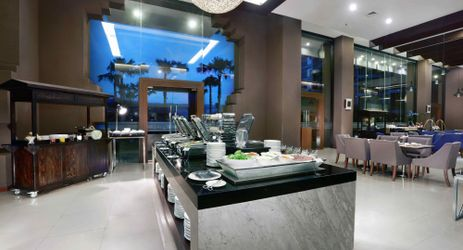 A buffet-style restaurant completed with outdoor area to enjoy exclusive mountain view in Sentul area