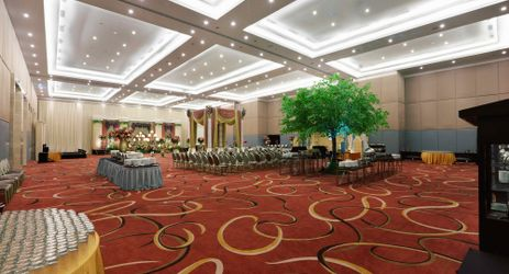 A state of the art ballroom which could be decorated for celebratory occasion in the best hotel surrounded by mountain view in Sentul area