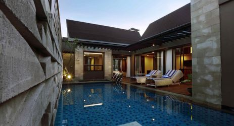 Exclusive pool to enjoy private time while staying in the best hotel surrounded by mountain view in Sentul area