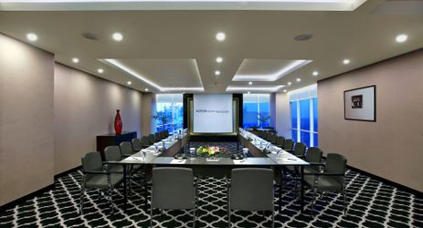 A medium-sized meeting room which is suitable to accommodate moderate amount of people when visiting the best hotel in the center of business district in South Jakarta
