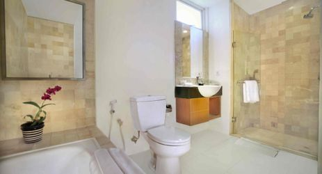 Spacious yet elegant bathroom completed with bathtub only in our Royal Family room.