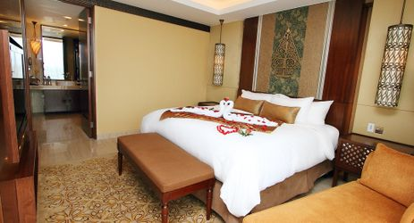 Romantic wedding setup in the spacious 94 sqm suites for a perfect honeymoon in 5 star hotel in Yogyakarta
