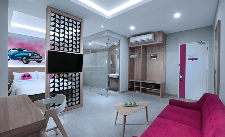 """The 42 sqm rooms well equipped with 40"""" LED TVs with international & local channels, ac, safety deposit boxes, ensuite bathroom with standing shower, IDD telephones, cozy living room with a cozy couch, writing desk with universal power outlet, free"""