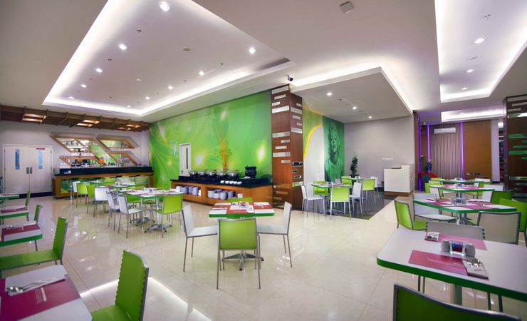 Modern Restaurant with fresh color interior. a range of functions such as: birthdays, Christmas parties, reunion lunches, product launches & after work drinks.