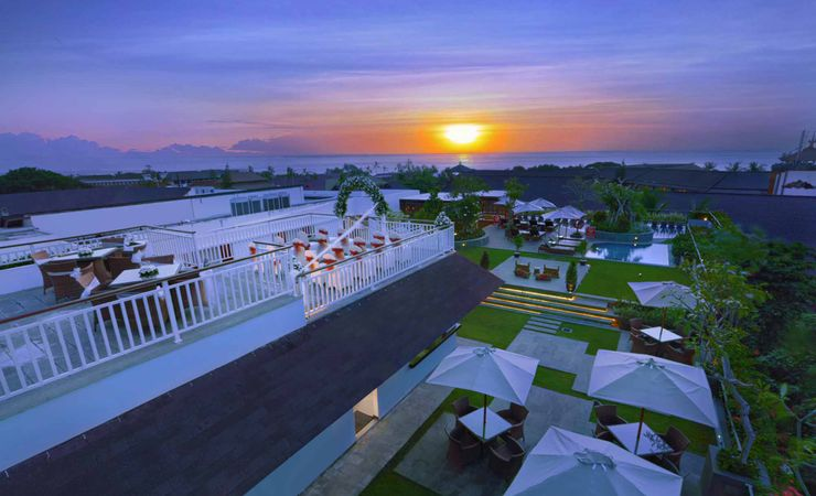 A beautiful rooftop function space with sunset view to host wedding, birthday party or other receptions and events in Kuta Bali