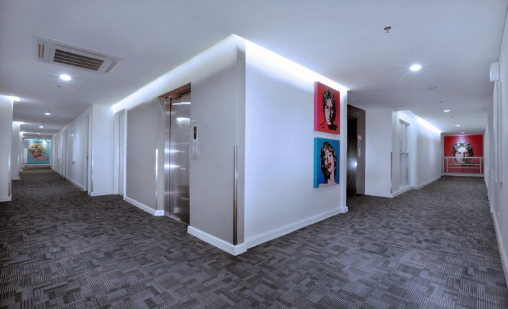 A modernly designed hotel corridor which could also serve as a selfie spot inside the hotel