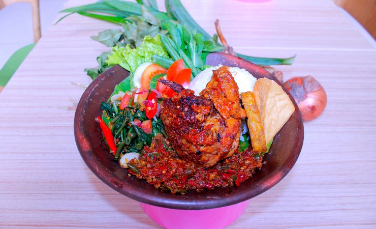 Chicken grilled with spicy taste indonesian culinary