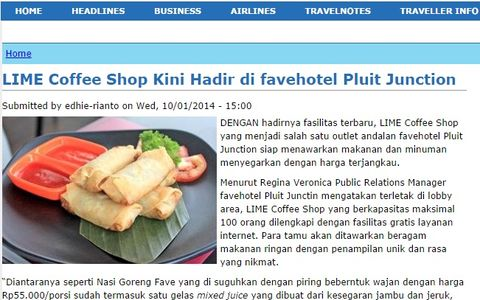 Lime Coffee Shop Kini Hadir di Favehotel Pluit Junction Jakarta