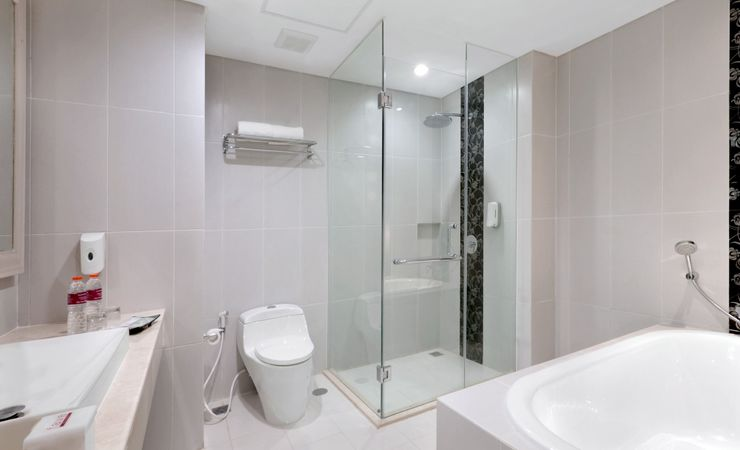 Suite Bathroom is equally as inviting. Spacious, with separate comfortable bathtub and large standing showers, fluffy cotton towels as well as complimentary bathroom amenities